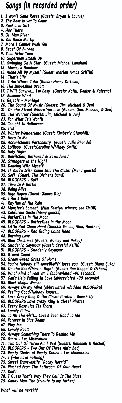 ClosetSinger Song List