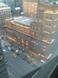 "View from our room... ""How do you get to Carnegie Hall?"" ""It's right down there."""